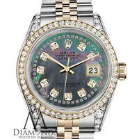 Rolex Steel & Gold 36mm Datejust Black MOP String Diamond Dial Unisex Watch