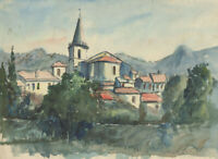 Frank Fidler, French Town – Original mid-20th-century watercolour painting