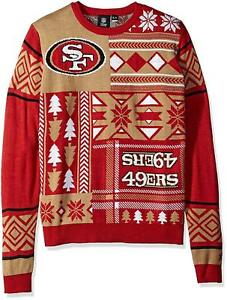 NFL Football San Francisco 49ers Ugly Patches Sweater by KLEW Choose Your Size