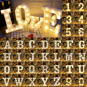 Plastic Standing Numbers Alphabet Letters Large LED Light Up Lights Warm White