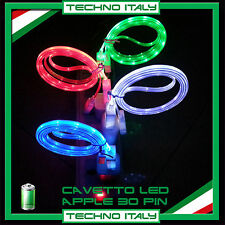 CAVO CAVETTO LED 30 PIN USB LUMINOSO COLORATO IPHONE 3 3GS 4 4S IPOD TOUCH IPAD