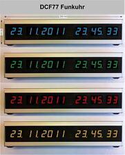 Funkuhr DCF77 LED Uhr Typ1 Alu natur eloxiert Dualtime rot Funkuhren
