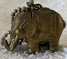 Vintage BrassThailand Lucky Elephant Keyring Hidden Locket  Strongspring
