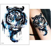 Temporäres Tattoo Blauer Tiger Bunt Tropen Design Klebetattoo Körperkunt
