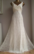 MONSOON IVORY LACE SILVER EMBELLISHED MATHILDE MAXI BRIDAL WEDDING DRESS 14 £250