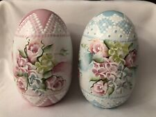 Hand Painted LARGE Easter Eggs Wood Roses Hydrangeas Cottage  Lace Chic HP