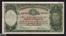 Australia R-29. (1938) 1 Pound - Sheehan/McFarlane..  George VI Portrait..  aVF