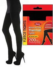Ladies Silky 200 Denier Soft Warm & Cosy Fleece Thermal Tights - Black X Large