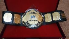 WWF Classic Gold Winged Eagle Championship Belt Adult Size with WOODEN CASE.