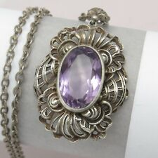 Vintage Art Deco 800 Silver Filigree Repousse Natural Amethyst Pendant Necklace