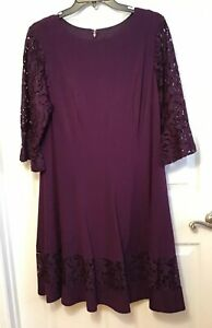 Jessica Howard Women Plus Sz 14W Dark Purple Lace Dress, Bell Sleeve Fit & Flair