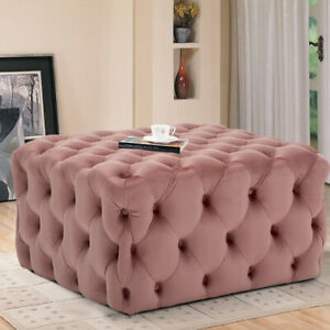 Buttons Quilted Seat Tuffet Grey Pink Square Stool Velvet End Table Sofa Ottoman