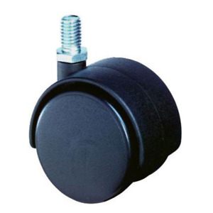 Möbelrollen schwarz Gewindestift M10x15 mm Lenkrolle Rad-Ø 50 mm Rollen Set