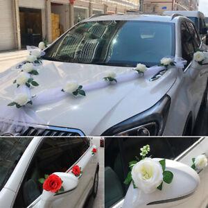 Wedding Car Decoration Kit Set Car Wedding Artificial Flower Decorative Organza