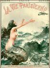 1927 La Vie Parisienne Mermaid and Airplane France Travel Advertisement Print
