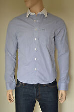 NUOVO Abercrombie & Fitch Adams Mountain Navy Blu A Righe A Righe Camicia L rrp £ 88