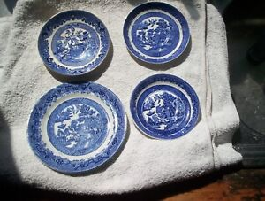 Blue and White Willow pattern plates x 4 - 3 saucers 1 side plate