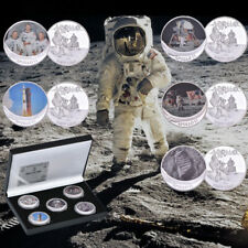 5pc APOLLO 11 50th Anniversary Armstrong Moon Landing Silver Coins With Gift Box