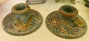 Weller? Pottery 1920s Bird And Nest With Eggs Single Candlestick Holders Pair