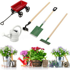 Miniature Dollhouse Garden 5 Small Tools Pulling Cart Shovel Rake Watering Can