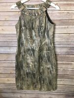 Muse Size 2 Halter Dress Metallic Animal Print Fitted Cocktail Party
