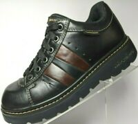 Vintage Skechers Chunky Boot Lace Up Black Leather Brown Stripe Bootie Women 7