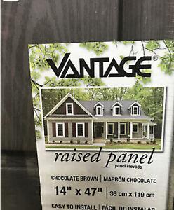 SET of 2 Vantage Shutters 14 x 47 Vinyl Raised Panel Paintable Brown FANCY NEW!
