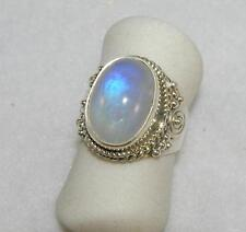 Rainbow Moonstone Oval Balinese Ring Sterling Silver Size 5.5