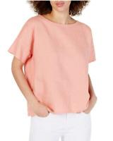 NWT EILEEN FISHER Women's Organic Linen Bateau Neck Blouse Shirt, Size XS/TP