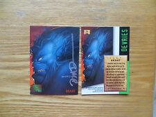 1995 FLEER MARVEL MASTERPIECES BEAST CARD SIGNED DAVE DEVRIES ART, WITH POA