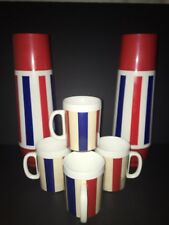 Vintage Thermo-Serv July 4th 2 Thermos Bottles & 4 Cup Set Lot  Red White Blue
