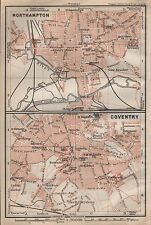 1910 BAEDEKER ANTIQUE MAP- UK-TOWN PLAN, NORTHAMPTON & COVENTRY, 2 IMAGES