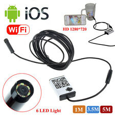 6LED 3.5m Waterproof WiFI Borescope Inspection Endoscope Tube Camera For iPhone