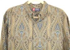 Vtg 90s Chaps Ralph Lauren Green Gray Blue Paisley Mens Button Down LS Shirt XXL