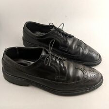 Vintage Black Cordovan Wingtip Men's Shoes Size 9 Dress Shoe Brogue Full Leather