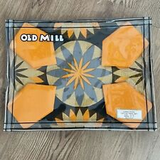 More details for new vtg old mill table cloth  napkins x 4 set geo brown orange screen printed