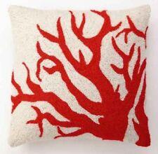 Peking Handicrafts Coral Pillow Large Orange Red 18 x 18 Pillow Hook Zip Cover
