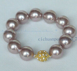 9 Colors Genuine 8-16mm South Sea Shell Pearl Round Beads Bangle Bracelet 7.5''
