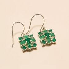 Natural Zambian Emerald Earrings 925 Sterling Silver Dangle Drop Women Jewelry