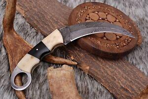 Custom Hand Forged Damascus Steel Hunting Karambit Knife W/bone & Wood Handle