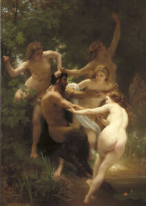 Bouguereau Nymphs and Satyr - A4 size 21x29.7cm Canvas Art Print Poster Unframed