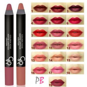 Golden Rose Crayon Matte Lipstick 28 Shades Red Nude Pink Brown UK Velvet