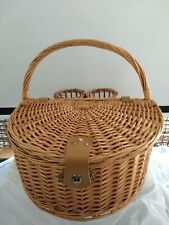 Wicker Fan Style Picnic Basket 2 Wine Holders 2 Wine Glasses