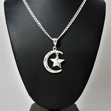 "2"" Tall Genuine 925 Sterling Silver Crescent Moon & Star Islam Muslim Pendant"