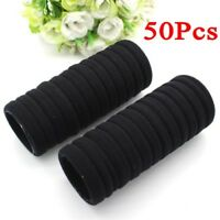 Black 50pcs Women Elastic Hair Ties Band Ropes Ring Ponytail Holder Accessories