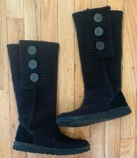 Ugg Black Sweater Button 6 .Women's Winter Boots Very Good Condition