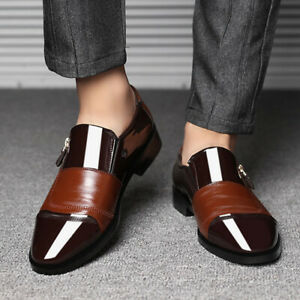 Men Faux Patent Leather Wedding Business Formal Shoes Fashion Pointy Toe Loafer