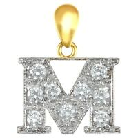 Fashion 9ct Yellow Gold Womens Stunning CZ Initial E Letter Pendant 18.2mm