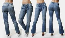 WOMENS Mid WAISTED Kick Flare Ripped JEANS Slim Stonewashed Denim PANTs 10 12
