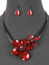 Flower Red Hematite Tone Bib Statement Necklace Earrings Fashion Jewelry Set